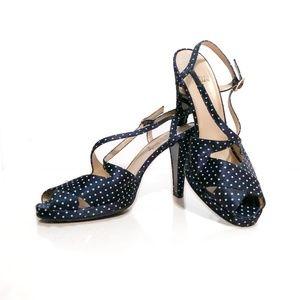 Retro Polka Dot Navy Sailor Shoes
